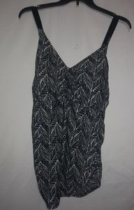 Cute Black White Zig Zag Swim Top 24W Plus
